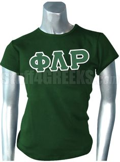 Forest green Phi Lambda Rho t-shirt with the Greek letters across the chest.