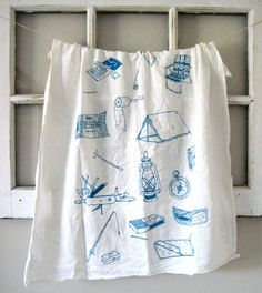 Tea Towel - Screen Printed Organic Cotton Camping Equipment Flour Sack Towel - Eco Friendly and Awesome Kitchen Towel for Dishes. $10.00, via Etsy.