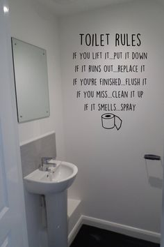 A quirky fun decal for your toilet/bathroom It is available in all of our 30 matt vinyl colours. This decal is available in 3 size: (approx) Size 1 - wide x high Size 2 - wide x high Size 3 - wide x high The decal is cut from high quality vinyl, and when