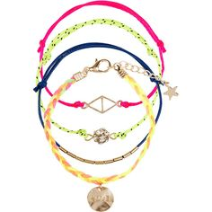 Monsoon 4 x Neon Festival Friendship Bracelets (13,755 KRW) ❤ liked on Polyvore featuring jewelry, bracelets, charm bracelet, neon bracelet, neon jewelry, bracelet bangle and charm jewelry