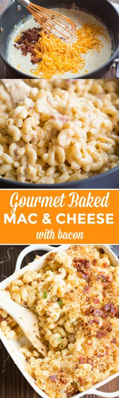 "This creamy, cheesy, GOURMET BAKED MAC AND CHEESE WITH BACON will outshine any mac and cheese you've tasted! It is ""restaurant-quality"" AMAZING, and it couldn't be simpler to make. 