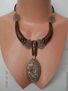 Купить Колье СОФИЯ - авторская работа, натуральный камень, натуральная кожа, подарок, оригинальный подарок