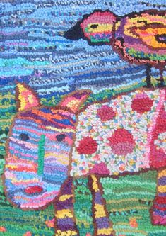 sue dove, rug hooking -- Child's Play...love hooked rugs of children's drawings & using their wonderful colors!