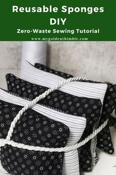 DIY Reusable Sponge with fabric scraps. Zero-waste sewing project.