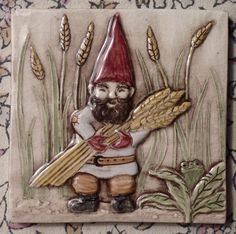 interspersed. also girl gnome.  Decorative relief carved ceramic gnome man tile by earthsongtiles, $20.00
