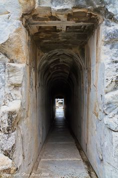 Looking down one of the two passageways to the Adyton at the Temple of Apollo - Didyma, Turkey