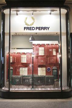 Fred Perry Christmas windows by StudioXAG visual merchandising
