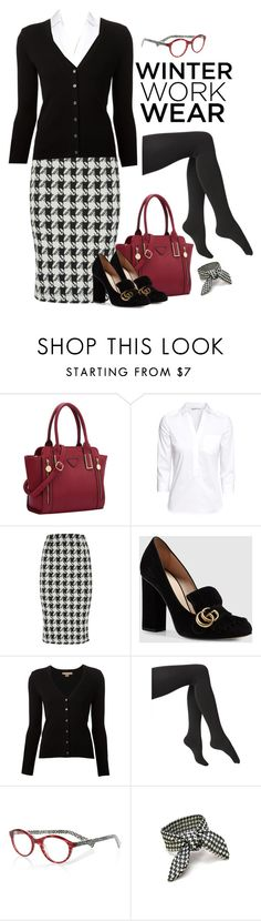 """""""houndstooth skirt"""" by trishica ❤ liked on Polyvore featuring H&M, Gucci, Michael Kors, Via Spiga and eyebobs"""