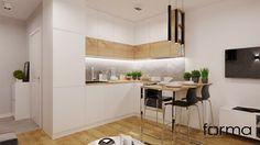 MIESZKANIE DĄBIE PARK - Mała otwarta kuchnia w kształcie litery l, styl nowoczesny - zdjęcie od FORMA - Pracownia Architektury Wnętrz i Krajobrazu