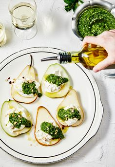 Fresh Pears and Burrata Cheese with Hazelnut-Mint Pesto
