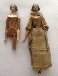Antique Doll Peg Wooden Jointed Tuck Comb Original Clothes 1800's Hand Carved | eBay