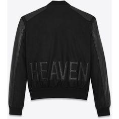 Saint Laurent Heaven Varsity Jacket ($3,760) ❤ liked on Polyvore featuring men's fashion, men's clothing, men's outerwear, men's jackets, yves saint laurent mens jacket and mens leather sleeve jacket