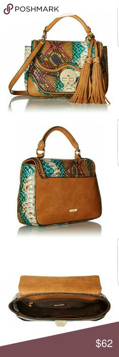 Aldo Oniaclya Hand Bag Cross Body This gorgeous hand held or cross body bag by Aldo in beautiful Browns and peacock colors with tassels an fringe make this bag a statement piece for sure! Magnetic Closure and top handle with double tassel detail Aldo Bags