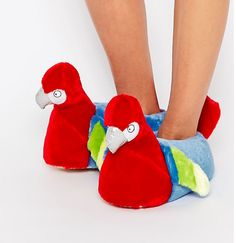 Some parrot slippers that will make your feet squawk with joy.