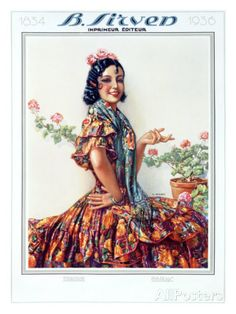Gaspar Camps - Sirven Geranium Senorita Flamenco - Giclee on Canvas Complete colection of art, limited editions, prints, posters and custom framing on sale now at Prints. Spanish Woman, Spanish Ladies, Illustration Art Nouveau, Big Dresses, Modernisme, Spanish Artists, Poster Prints, Art Prints, Arte Popular