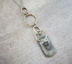 Pewter 2 x 1.15 Shield Pendant Necklace with by TheTimelessPeony