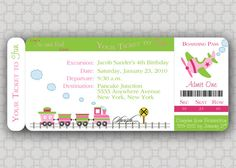 Girl Train Birthday Invitation   Boarding Pass by SwishDesigns