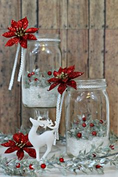 Holiday Mason Jar Luminaries are a simple project you can put together in just a few minutes that will add a dramatic and dazzling effect to your holiday table. Mason Jar Christmas Crafts, Snowman Christmas Decorations, Christmas Centerpieces, Christmas Projects, Holiday Crafts, Christmas Ornaments, Table Centerpieces, Christmas Ideas, Simple Christmas