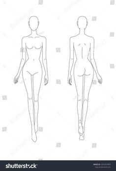 Sketch of the female body. Front and back view. P ut your hands in the length of the body, legs in motion. Female body template for drawing clothes. You can print and draw directly on sketches. Fashion Sketch Template, Fashion Figure Templates, Fashion Design Template, Fashion Figure Drawing, Fashion Model Drawing, Fashion Design Drawings, Fashion Illustration Tutorial, Fashion Illustration Sketches, Fashion Sketches