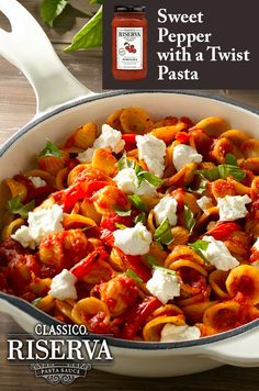 Try this sensational pasta dish made with Classico Riserva Marinara, fresh basil, peppers, delicious goat cheese, and spices to add some color to your plate and some zest to your kitchen!