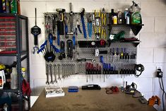My home bike repair shop: main tool storage area and bench.