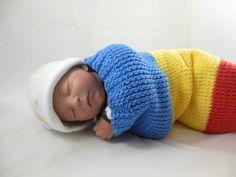 Cocoon, Sleep Sack, Sleep Bag, Wrap, Blanket in Blue, Yellow, & Orange