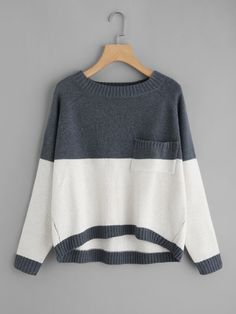 Shop Two Tone Raglan Sleeve Dip Hem Sweater online. SheIn offers Two Tone Raglan Sleeve Dip Hem Sweater & more to fit your fashionable needs. Sweatshirt Refashion, Long Summer Dresses, Plus Size Shirts, Raglan, Types Of Sleeves, Knitwear, Sweaters For Women, Women's Sweaters, Cute Outfits