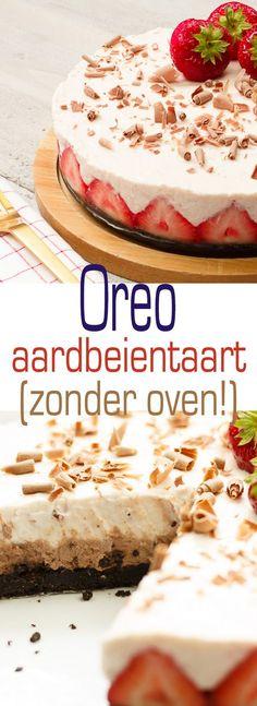 Oreo aardbeientaart no-bake