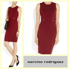 Narciso Rodriguez $160 red merino wool jersey knit dress sz.M/L #buynow www.tpopshop.nyc   #narcisorodriguez #cashinyourcloset