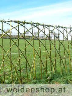 Fence. Planted with living stems of willow ( length 2.5 m diameter > 1.5 cm) stem height 1.2 m  diamenter 20 cm - 2 rods per planting hole - a straight and a bent, alternately to the left once, the right once, bind joins with string or reeds etc. Bamboo can be used instead of willow - Just make sure it is quite dry.
