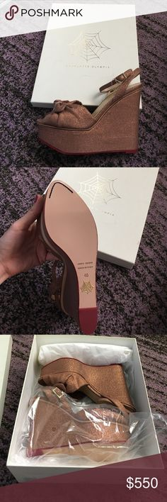 "Charlotte Olympia wedges Miranda style. 6"" wedge. Made in Italy. Carmel/bronze color. Brand new with box and tissue. Size 40. Charlotte Olympia Shoes Wedges"