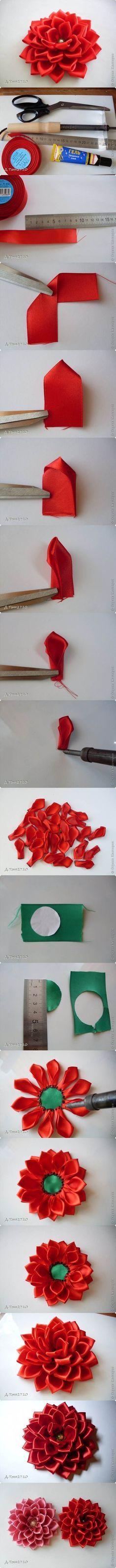 DIY Satin Ribbon Dahlia Petals | iCreativeIdeas.com LIKE Us on Facebook ==> www.facebook.com/...