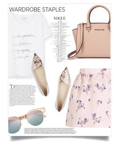 """""""Wardrobe Staple: White T-Shirt"""" by gold-candle23 ❤ liked on Polyvore featuring RED Valentino, Violeta by Mango, Michael Kors, Sophia Webster, Le Specs and Balmain"""