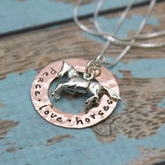 Horse Lovers Copper Washer and Sterling Silver Personalized | Etsy