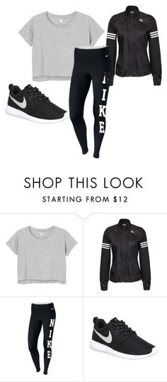 """""""workout"""" by oliviamarshallcheer on Polyvore featuring Monki, adidas, NIKE, women's clothing, women, female, woman, misses and juniors"""