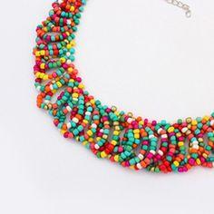 Define multicolor beads weave design alloy Korean Necklaces:Asujewelry.com