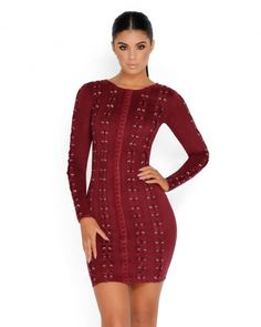 Long Sleeve Suede Dress with Lace Up Detail - Thumbnail