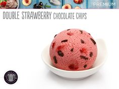 Our signature flavour, fresh strawberry ice cream, real strawberry fruit bursting with real chocolate chips.