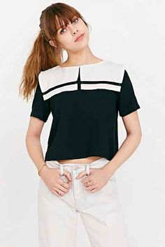 White Pepper Cropped Sailor Top - Urban Outfitters