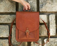 Ready to ship. Honey brown leather backpack Womens small