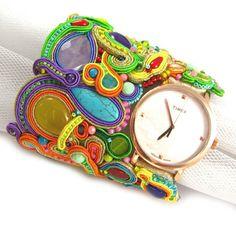 """Soutache bracelet """"Watch it"""" Rainbow Clock cuff woman watch bracelet pink green yellow blue red purple"""