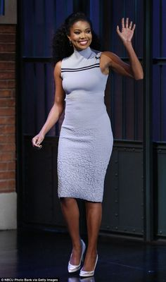 Lovely in lilac: Gabrielle Union visited the set of Late Night With Seth Meyers in New York...