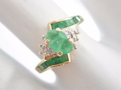 10k Yellow Gold Oval & Princess Cut Emerald Diamond Accent Ring #926 Check out this item and more at mmjewelersknoxville on eBay!