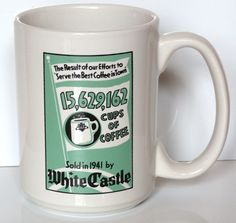 White Castle Coffee Tea Cup Mug Restaurant  What You Crave 1999
