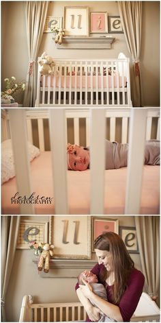 curtains framing the crib. Beautiful name sign.