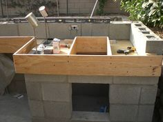 Thinking of ways to enhance your backyard? Then build an outdoor kitchen! It will encourage you to get outdoors more and there's every chance that it will also increase the value of your home! Build Outdoor Kitchen, Outdoor Cooking, Outdoor Kitchens, Backyard Kitchen, Backyard Barbeque, Barbecue, Concrete Countertop Forms, Outdoor Kitchen Countertops, Home Improvement Contractors