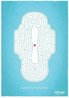 Historic Moment, Feminine Hygiene Ad Shows Blood the 'period' maze.the 'period' maze. Good Advertisements, Clever Advertising, Advertising Poster, Advertising Design, Advertising Campaign, Ads Creative, Creative Posters, Funny Ads, Guerilla Marketing