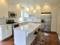it;s too white. need some contrast between cabinets and counter tops