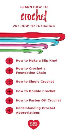 From creating a slip knot to learning popular crochet abbreviations, you can learn all the techniques you need to know for your next crocheted adventure with the help of these How-To Tutorials from Red Heart. If you have a particular project or pattern Crochet Stitches For Beginners, Crochet Stitches Patterns, Crochet Basics, Blanket Patterns, Crochet Crafts, Crochet Yarn, Easy Crochet, Crotchet, Crochet 101