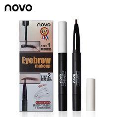 NOVO Professional Peel Off Eyebrow Gel + Pencil + Card Makeup Liquid Eye Brow 3D Eyebrow Tint Cream Tattoo Brow Pen Cosmetic Set